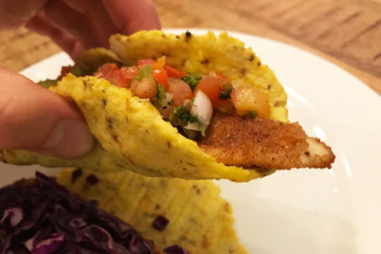 Fried Fish Taco with Cauliflower Tortilla
