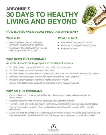 How is Arbonne's 30-Day Program Different