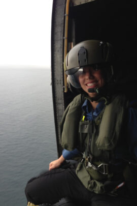 Terra in a Military Helicopter