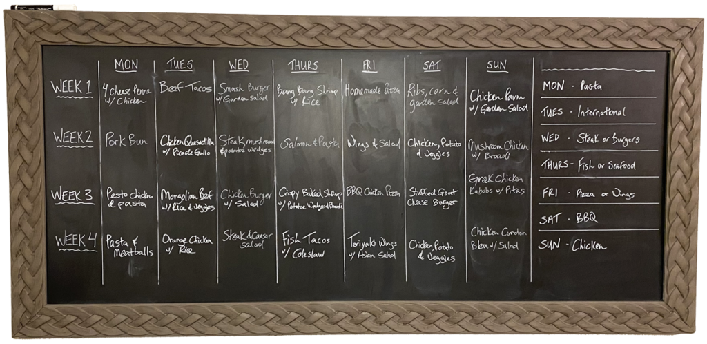 board for weekly meal planning